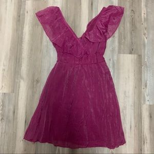 Faisca Pink/Purple Ruffle Blouse-Lined